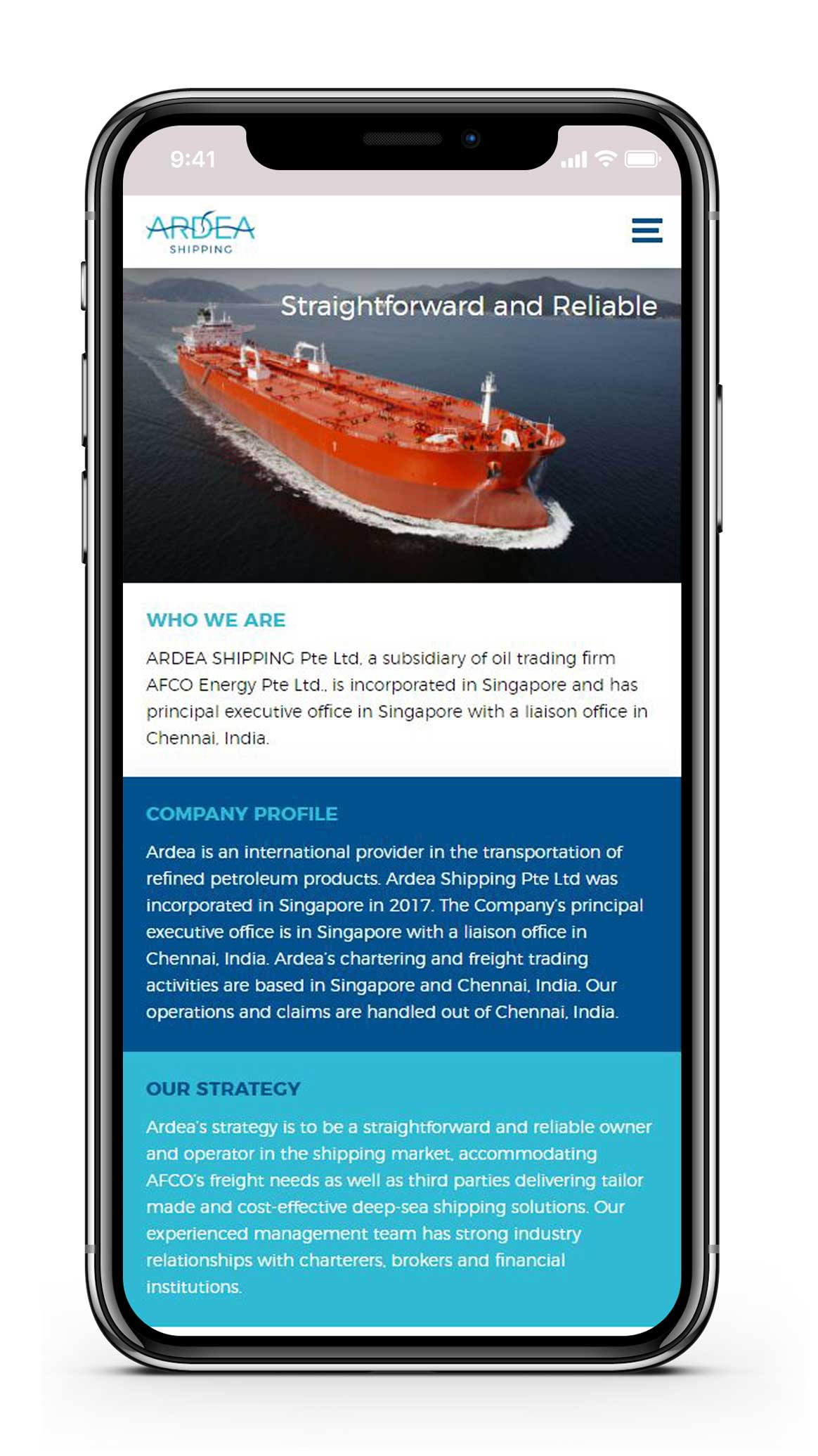 Ontwerp website Ardea shipping