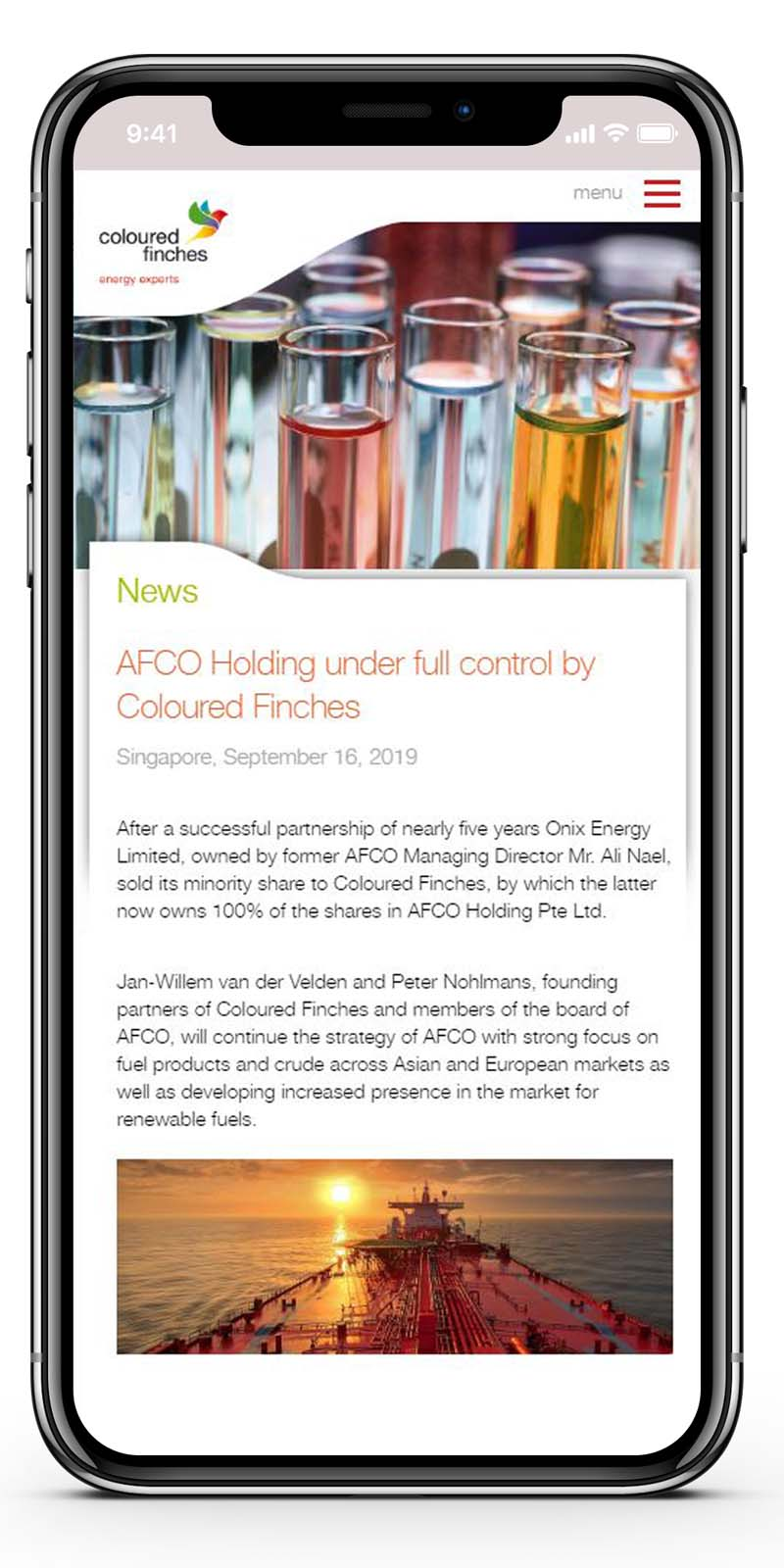 Ontwerp website FinCo Fuel News mobiel